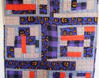 Halloween Quilt Modern Log Cabin Crib Wall Patchwork Geometric Fall Contemporary – 33 x 42.5