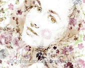 Amber DIGITAL COLLAGE PRINT 8x10 (200x250mm) vintage portrait, pastel pinks & greens, florals spray - CrimsonCircleStudios