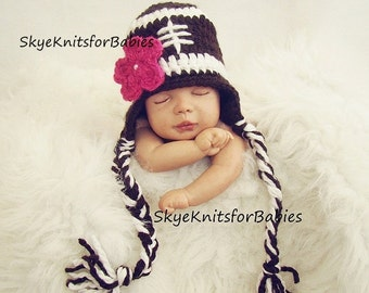 Crochet Baby Girl Football Hat, Baby Girl Football Hat, Removable Flower, Newborn Football Hat, Baby Girl Hat, Newborn Photo Prop