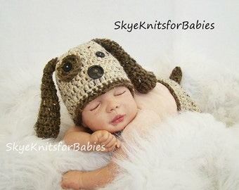 Crocheted Newborn Baby Puppy Hat & Diaper Cover Set, Newborn Photography Prop