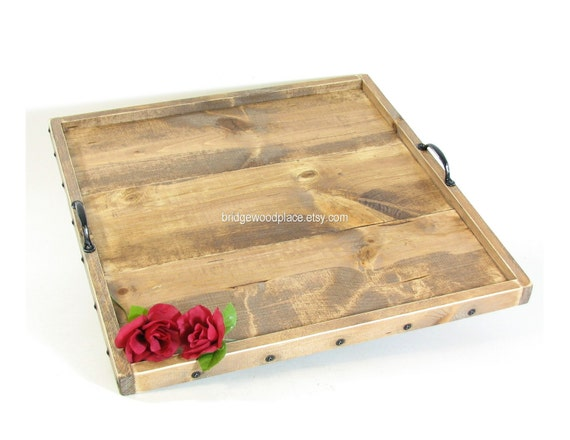 Ottoman Tray Xl Wood Coffee Table Tray Serving By Bridgewoodplace