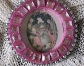 Old world, victorian Santa, pink bling