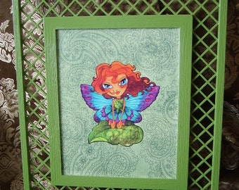 Auburna, Moss Fairy II, upcycled wall decor, Moss green, wall hanging