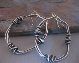 Large Twisted Hoop Earrings Sterling Silver
