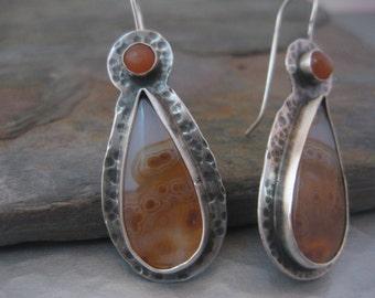 Ocean Jasper and Peach Moonstone Earrings