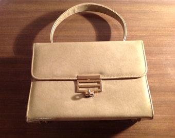 Vintage Camel Handbag / Gold tone Hardware Made In England