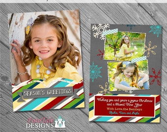 ON SALE INSTANT Download- Christmas - Chalky Christmas Card No 6 - 5x7 photo card templates for photographers