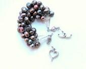 Heart plum bracelet / romantic pearl wrapped bracelet / ombre pearls / swarovski cones / hearts