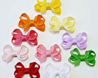 Girls Infant Hair Bow Set Newborn Small Tiny Little Childrens Kids Boutique  Fashion Hair Clip Hairbows (Set of 10) Choose Colors