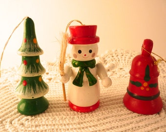 3 Vintage Christmas Ornaments Snowman w/ Broom Red Bell Christmas Tree w/ Ornaments  Wood Hand Painted Red Green White