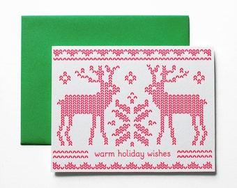 Holiday Card - Reindeer Sweater Christmas Card, Letterpress