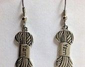 Yarn Charm Earrings, Tibetan Silver with Silver Ear Wires, Great Knitter, Crochet Gift, Yarn Jewelry, Yarn Skein Charms