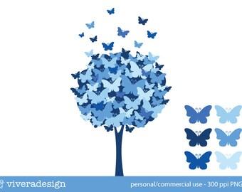 Butterfly Tree Digital Clip Art - Blue Waters