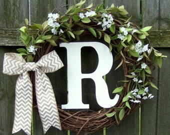 Monogrammed Wreath - Summer Wreath - Fall Wreath - Wreath with Monogram Initial