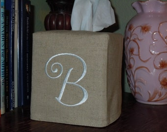 """Tissue Box Cover - Custom Made To Order - Monogrammed Essex Natural Linen -  Curly Font  """"B"""""""