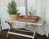Antique Rustic Bucket Bench Coffee Table Collapsible