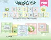 CHARLOTTE'S WEB Birthday Collection : Print at Home Party Decorations | Farm Birthday | Barnyard Birthday | DIY Printable | Digital Files