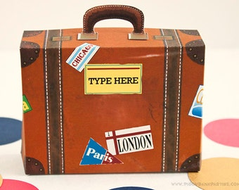 Vintage Suitcase Favor Box (Small with Yellow Label): DIY Printable Luggage Gift Box // World Travel // Baggage - Instant Download