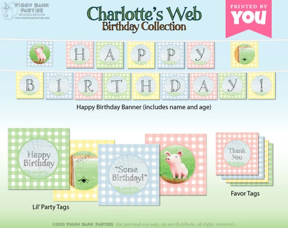 CHARLOTTE'S WEB Birthday Collection - DIY Printable Party Decorations // Farm and Barnyard Birthday Decoration