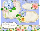 Spring Floral Digital Shaped Tags E14-09A watercolor hydrangeas, peony, peonies, mums, chrysanthemums, texture scrolls scrapbooking crafting