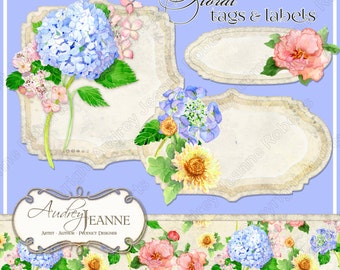 Watercolor Spring Floral Digital Shaped Tags E14-09A hydrangeas, peony, peonies, mums, chrysanthemums, texture scrolls scrapbooking crafting