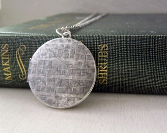 Locket Necklace - Vintage Antiqued Silver Brass Photo Locket on Long Chain Pendant Necklace Silver Chain