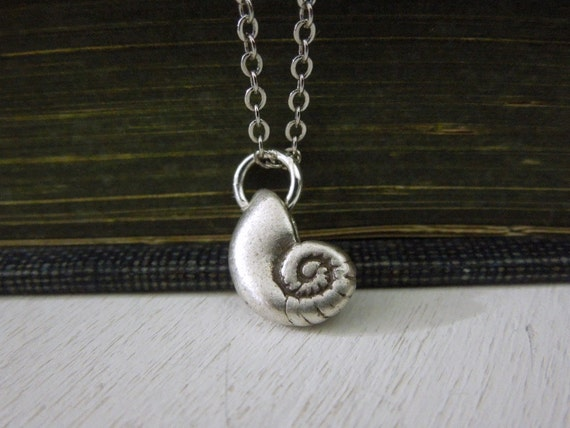 Fossil Snail Necklace - Tiny Antiqued Silver Pewter Fossil Snail Charm Delicate Silver Chain