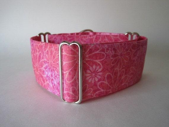 Pink Martingale Collar, 2 inch Martingale Collar, Pink Dog Collar, White, Daisies, Greyhound Collar, Batik, Wide Dog Collar