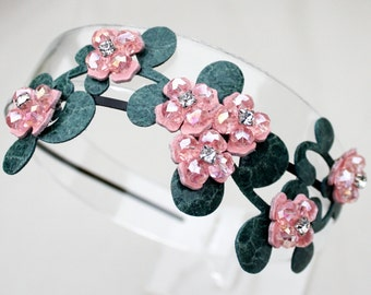 Bridal pink headband leather flowers crystal beads teal leaves on black metal headband woodland wedding garden wedding bridal tiara prom