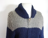 Vintage 1960s Navy and Grey Wool Cowichan Sweater