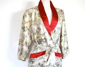 SALE Vintage 1960's Robe // 50s 60s Asian Print Embroidered Robe // Hong Kong Garden