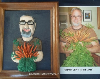 The love of Carrots, Art Collection, Sculpture of a Custom Request Polymer 3D Clay Portrait, Remake of a Print, Make Photo into Wall Plaque
