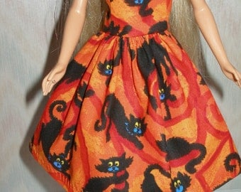 Handmade 11.5 Fashion doll clothes - orange and black cat dress