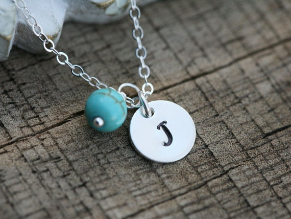 Initial necklace,Custom gemstone necklace,monogram necklace,hand stamped,Bridesmaid gifts,Everyday jewelry,Personalized initial,font choices