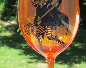 Halloween Wine Glass Witch Celebrating Orange Black Hand Painted