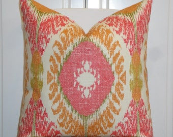 BOTH SIDES Or Front Only - IKAT Decorative Pillow Cover - Coral Pink - Orange - Green - Accent Pillow - Cushion cover - Pillow Case