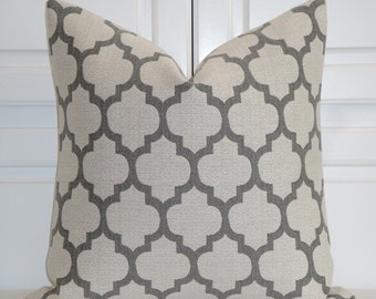 Grey Quatrefoil Pillow Cover  - Moroccan Pillow Cover - Geometric - Sofa Pillow - Cushion  - Euro Sham - Bed Pillow