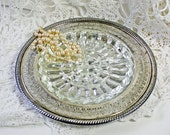 Vintage Silver Serving Platter with Divided Glass Insert Openwork Rim