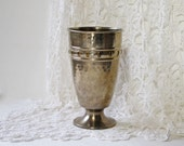 Vintage Hammered Brass Vase with Pedestal or Foot