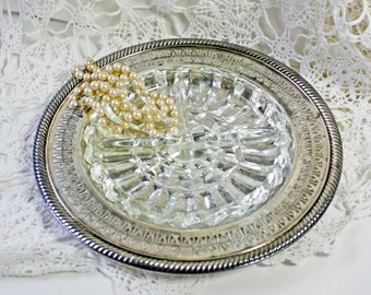 Vintage Silver Serving Platter with Divided Glass Insert Openwork Rim