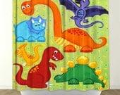 Kids Shower Curtain - Dinosaur Jumble - Dinosaur Bathroom Decor - Dinosaur Theme for Kids