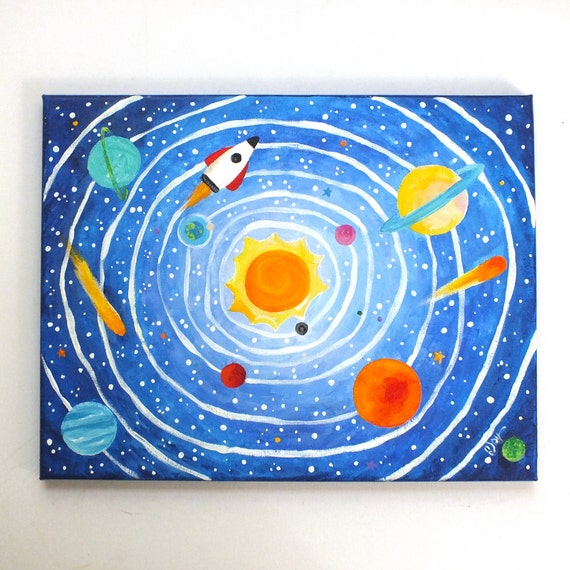 Nursery decor solar system no 6 14x11 acrylic canvas by njoyart - Solar system decorations ...