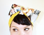 Vintage Inspired Head Scarf, Reversible, The Wizard Of Oz. Yellow Brick Road, Rockabilly, Retro, 1940s, 1950s