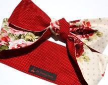Vintage Inspired Head Scarf, Red Dots, Vintage Rose, Rockabilly, Retro