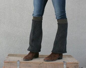 Upcycled Recycled Repurposed Sweater Leg Warmers Black Caramel Brown Chevron Diamonds Geometric Tribal Fall Winter Fashion