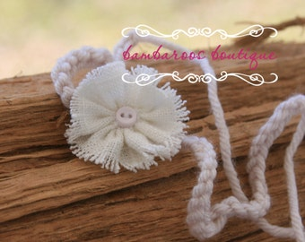 baby headband, Newborn photography props, Tiny Petite ivoryFlower, newborn headband, vintage headband