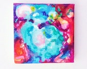 Blue Abstract Small Canvas Original, Unique Gift Idea, Home Decor, Blue Art, Magenta, Pink - ShellyPorterArtworks