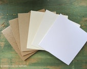 "25 Square Folded Cards: Choose 4.5"", 4 3/4"", 4 7/8"", 5"", 5 1/8"" or 5 1/4"", Recycled, Kraft Brown, Light Brown, White, Natural or Ivory"