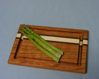 Small Signature Stripe Cutting Board with Groove.  Maple or Cherry.  Free Shipping