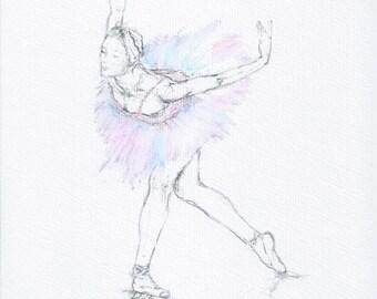 Mixed media drawing, ballerina, unframed, A4